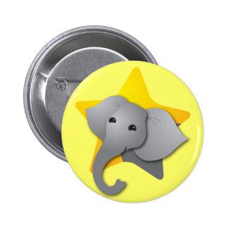 ¡Sorpresa gris del elefante! estrella Pin Redondo De 2 Pulgadas