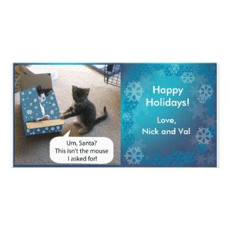 Sorpresa Photocard del navidad del gatito Tarjeta Fotografica Personalizada