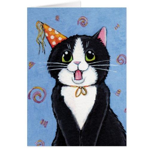 ¡Sorpresa! tarjeta del feliz cumpleaños del gato d
