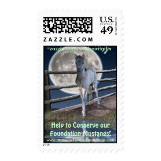 Sorraia Mustang Filly Equine Postage Stamp