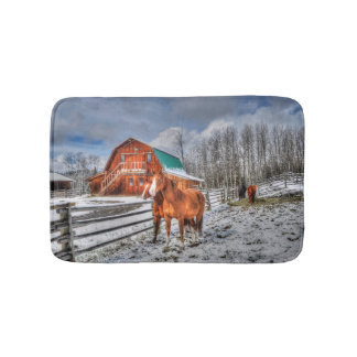 Sorrel and Chestnut Horses and Barn in Winter Snow Bathroom Mat