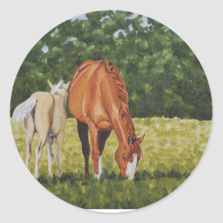 Sorrel and Palomino Foal Classic Round Sticker