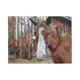 Sorrel Horse and Ranch Barn Artwork Doormat