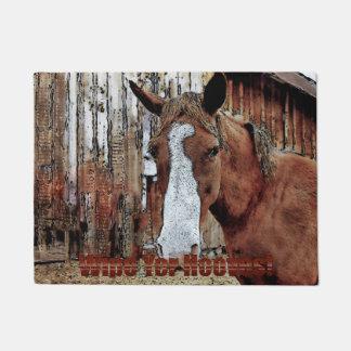 Sorrel Horse and Ranch Barn Artwork Welcome Mat Doormat