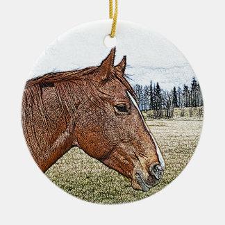 Sorrel Horse Portrait Equine Art Illustration Ceramic Ornament