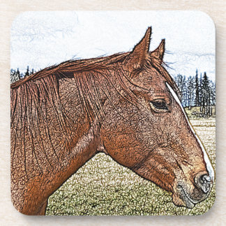 Sorrel Horse Portrait Equine Art Illustration Coaster