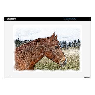 """Sorrel Horse Portrait Equine Art Illustration Decal For 15"""" Laptop"""