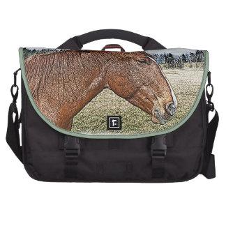 Sorrel Horse Portrait Equine Art Illustration Laptop Messenger Bag