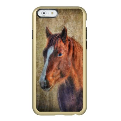 Sorrel Horse Portrait on Rustic Grunge-effect Incipio Feather® Shine iPhone 6 Case