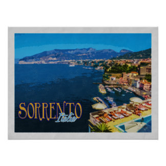 Sorrento Italy Bay of Naples Vintage Travel Poster