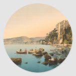 Sorrento por el mar, Nápoles, Campania, Italia Pegatina Redonda