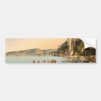 Sorrento por obra clásica Photoch del mar, Nápoles Etiqueta De Parachoque
