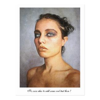 Sorrow classic oil portrait painting beauty woman postcard
