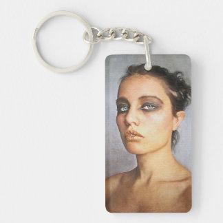 Sorrow classic oil portrait painting lady woman keychain