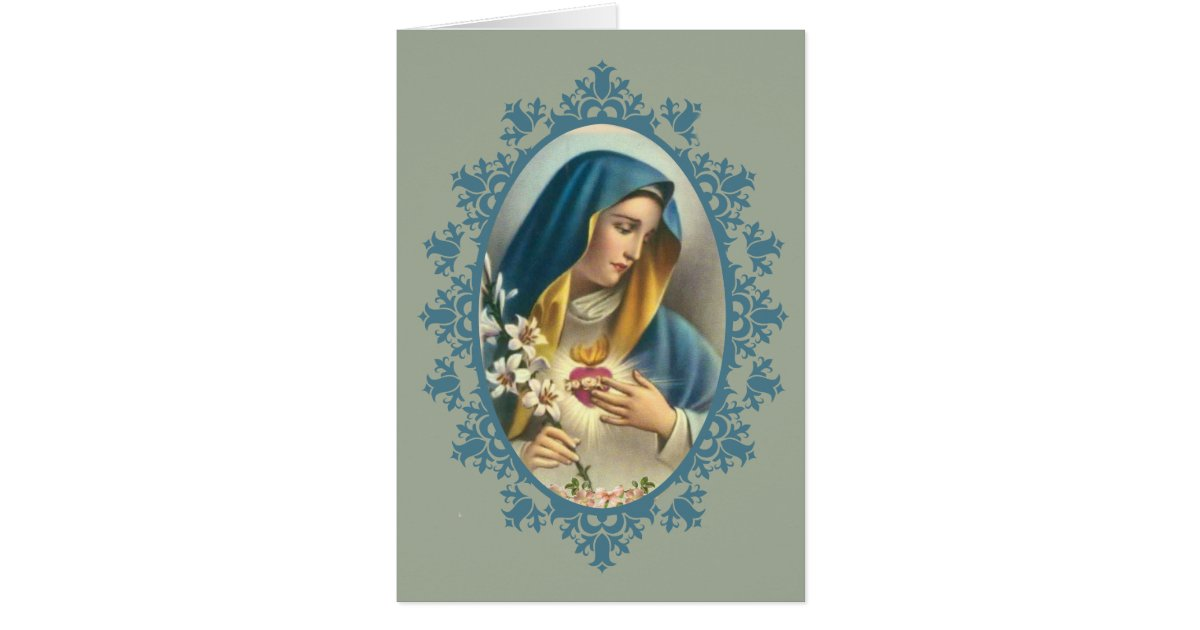 Wedding Gift List Virgin Holidays : Sorrowful Mother Virgin Mary Heart Lily Roses Card Zazzle