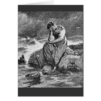 Sorrowful Sad Depressed Young Woman Card