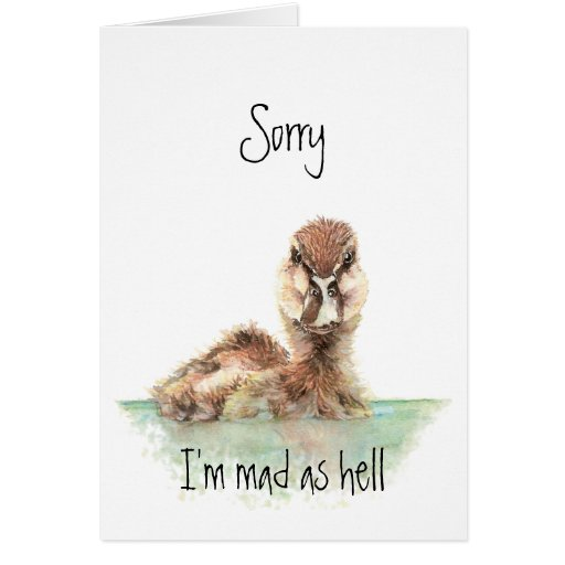 Sorry, Angry Duck, Encouragement, Job Loss Greeting Card