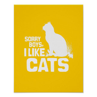 SORRY BOYS I LIKE CATS - WHITE -.png Print