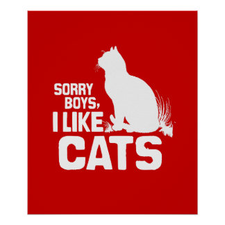 SORRY BOYS I LIKE CATS - WHITE -.png Poster