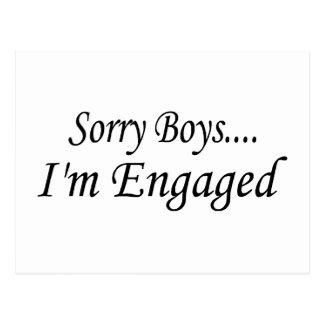 Sorry Boys Im Engaged Postcard