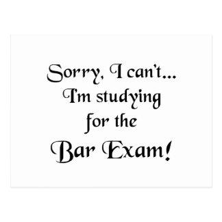 Sorry, Can't...Bar Exam Postcard
