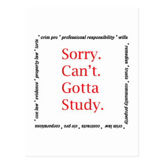 Sorry, Can't...Gotta study. Post Card