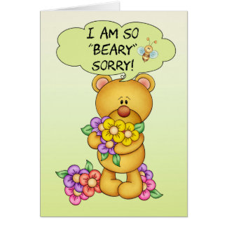 """Sorry Card """"Beary"""" Sorry With Bear And Flowers"""