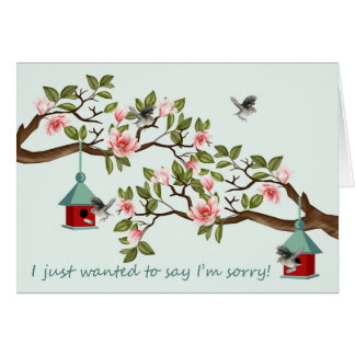 Sorry Card With Birds And Magnolia