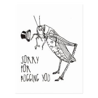 Sorry for bugging: Vintage grasshopper / cricket Postcard