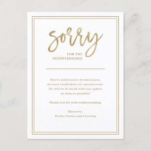 Sorry for Inconvenience  Cancellation or Postpone Announcement Postcard
