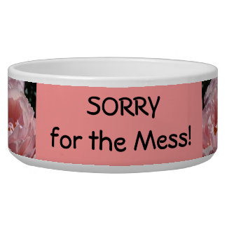 Sorry for the Mess! Pet Food Bowls Pink Roses Dogs