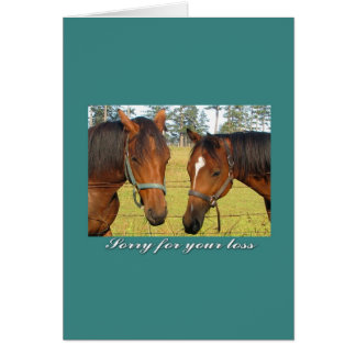 Sorry For Your Loss, Sympathy Two Sad Horses Card