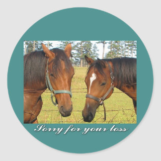 Sorry For Your Loss Sympathy Two Sad Horses Sticker