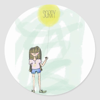 Sorry  girl illustration with balloon classic round sticker