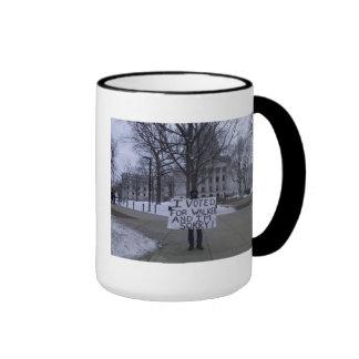 Sorry he voted for Walker! Ringer Coffee Mug