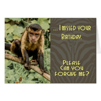 Sorry I missed your Birthday Sad Looking Capuchin Card