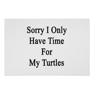 Sorry I Only Have Time For My Turtles Poster