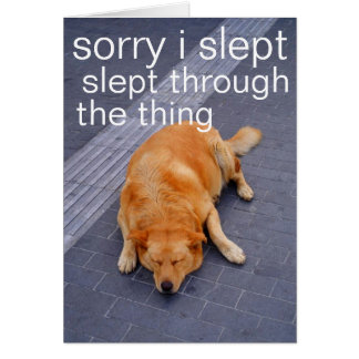 sorry i slept through the thing stationery note card