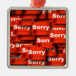 SORRY RED ROSE APOLOGY REGRET FORGIVENESS EXPRESSI METAL ORNAMENT