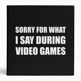 Sorry Say Video Games 3 Ring Binder