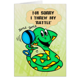 Sorry Snake Threw Rattle Greeting Card