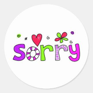 sorry round stickers