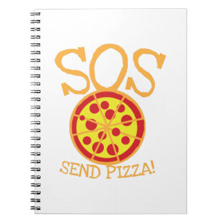 SOS! Send PIZZA! with yummy pepperoni pizza slice Notebook
