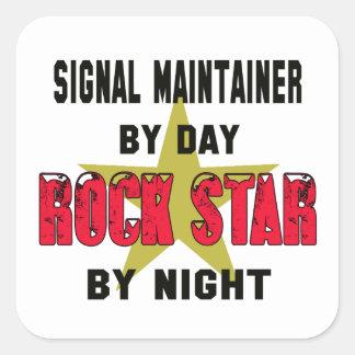 Sostén de la señal por el día rockstar por noche pegatina cuadrada