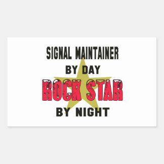 Sostén de la señal por el día rockstar por noche pegatina rectangular
