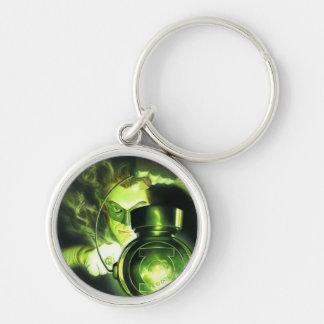 Sostener la linterna verde llavero redondo plateado