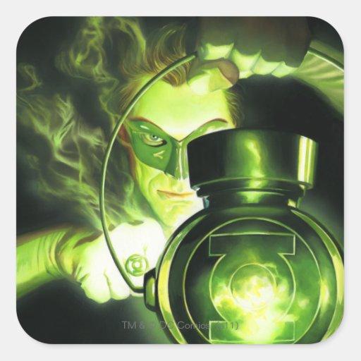Sostener la linterna verde calcomania cuadradas personalizadas