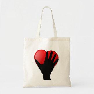 Sostener su tote del amor del corazón bolsa tela barata