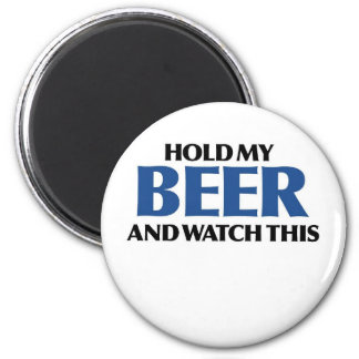 Sostenga mi cerveza (el bombardero azul) imanes para frigoríficos