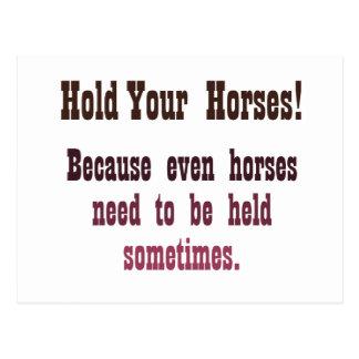 ¡Sostenga sus caballos! Postal
